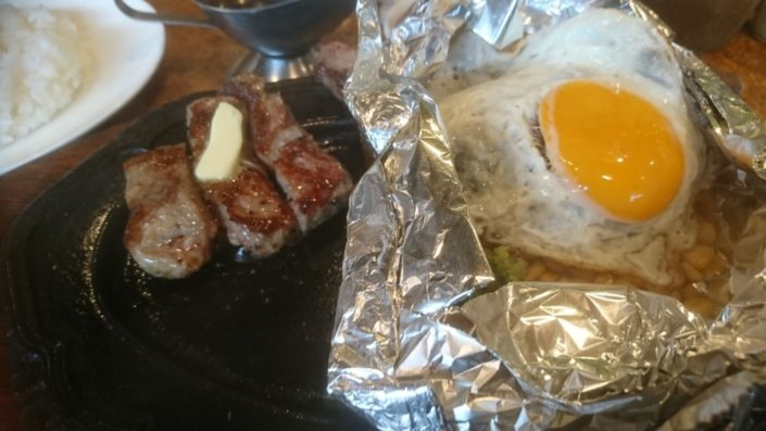 特選ハンバーグセットとお肉